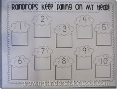 Write the room - each numbered cloud is around the room with ten frames.  Students count the objects in the ten frames and write the number in the appropriate box on the worksheet.