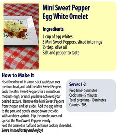 Peppers and eggs are a staple at the farm, try this extra healthy twist using egg whites and Mini Sweet Peppers!