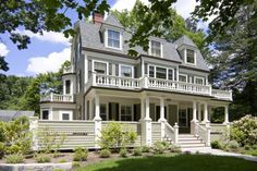 """Body/Siding Benjamin Moore, HC-113 """"Louisburg Green"""", trim Benjamin Moore, AC-41, """"Acadia White"""", Window sash & shutters, Benjamin Moore Ext. RM, """"Black Forest Green"""" forests, exterior siding, balconies, architecture interiors, shutter, dream houses, benjamin moore, design, front porches"""