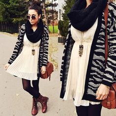 Winter Dresses with a Zebra Sweater