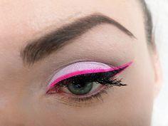Pastel eyeshadow + neon eyeliner.