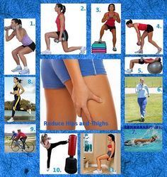 10 great  workouts that strengthen and reduce fat in the hips and thighs. The website is really helpful if you cant do certain ones properly!(:
