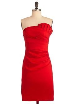 Cherry Bombe Dress - Short, Formal, Vintage Inspired, Red, Solid, Pleats, Wedding, 60s, Sheath / Shift, Strapless