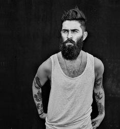 chris john millington full thick black beard beards bearded man men mens' style undercut hair hairstyle tattoos tattooed handsome