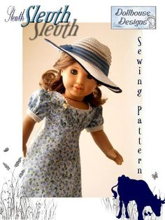 Sleuth 30s Dress ... by DollhouseDesign | Sewing Pattern - Looking for your next project? You're going to love Sleuth 30s Dress American Girl Dolls 18  LOVE!! BOTH DRESS AND HAT. DRESS UP A PLAIN GENERIC HAT!