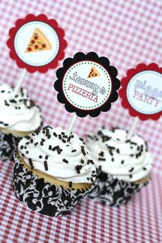Printable Party Circles Pizza Party Collection  by tomkatstudio