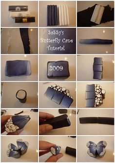 polymer clay tutorials, butterflies, butterfli cane, black white, polym clay, polymer clay canes, papillon, butterfly wings, clay crafts