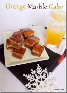 Eggless Orange Marble Cake