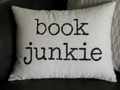 Book Junkie decorative pillow 12x16 with insert. $28.00, via Etsy.