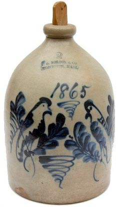 """Very rare and important dated F.B. Norton & Co. Worcester 2 gallon Stoneware Jug decorated with two parrots, tornados and plumes and large """"1865"""" date. According to the Worcester Historical Museum's 1980 exhibition on page 6 there are only two known dated pieces from the 1858-1876 period."""