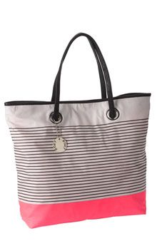 'Free Flow' striped tote in grey and neon pink