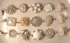 3 Vintage Shades of Ivory Pearl, Rhinestone Bridesmaids Bridal Silver Bracelets, Heirloom Vintage Cluster Earring Set of 3 OOAK