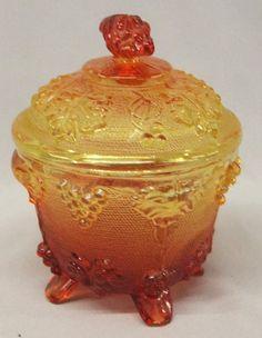 Amberina Glass Grape Pattern Covered Bowl