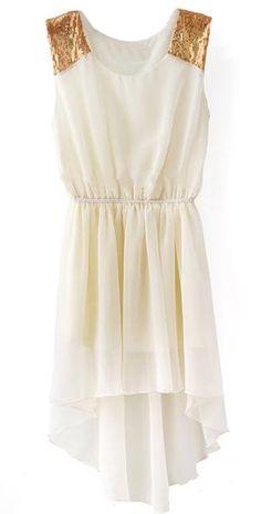 Beige Sleeveless Sequined Shoulder High Low Dress