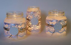 I have so many recycle glass candle jars that would be perfect for this pretty Christmas craft. After my candle has burned as far as it can go, I fill the jar with hot water and a little soap to get the rest of the wax out (wax can be recycled too!). Peel off any stickers and then redecorate the jar with ribbon, lace, or whatever decor floats your boat :)