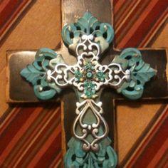 Cross, turquoise