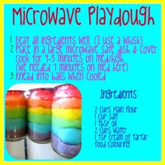 Microwave Playdough Recipe- thisstuff is great--no stove so my girls made 4 batches--rcd