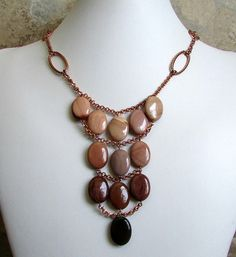 Copper Bib Necklace / Pink Jasper Gemstone Bib by NSUJewelry