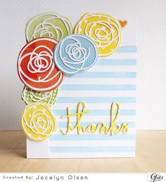 The centers of the flowers are die-cut scribbles, and the backs are fussy-cut patterned paper.  This technique would allow you to create flowers out of anything!  DIY thank you card