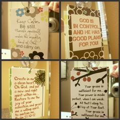 Scripture and encouragement for your mirror (Set 1). Includes 6 designs and suction hook. Start and end your day right.. $5.00, via Etsy.
