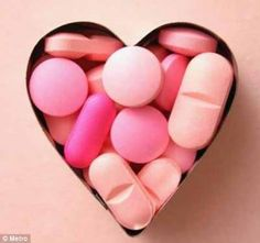 Pink Pills in a Heart Shape Box