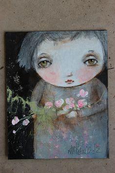 original folk art child floral flowers portrait  by fadedwest, $35.00