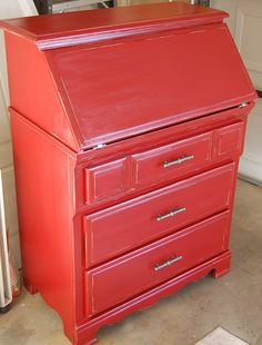 Fire engine red fold top desk refinished for one of my friend's sons.