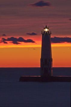 Sunset at Frankfort Lighthouse, Michigan ♡
