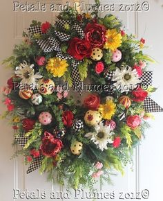 Spring Wreath  Summer Wreath by PetalsnPlumes ©2012  https://www.facebook.com/petalsnplumes