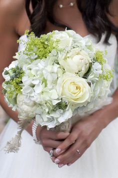 Very simple white and green bouquet (hydrangeas and roses)