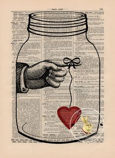 Bottled Love, My heart is Yours Dictionary Art Print on Dictionary Page Vintage Paper - from Etsy seller: theRushingRabbit
