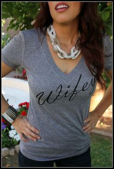 Wifey Womens V-Neck, Bridal Shower Gift, Wedding, Bride Shirt, Bachlorette Gift, Mrs. Bride To Be Classy Fitted Shirt on Etsy, $15.99