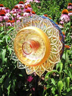 Repurposed Garden Art Glass Flower Suncatcher...