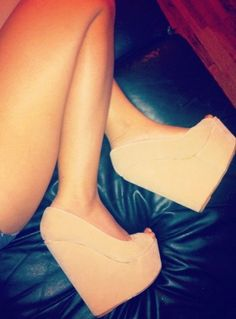 Wedges <3 jean shorts, toe, nude shoes, fashion, wedge shoes, style, color, heel, pump