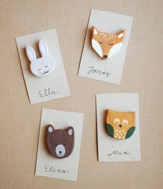 clay, badg, fox, woodland party favors, woodland creature, kid birthday parties