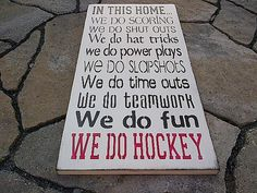 Wooden Sign In This Home  We do Hockey by dressingroom5 on Etsy, $48.00