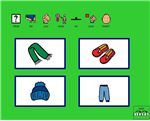 Clothing- wh questions – An interactive activity that asks What do you wear on your  (body part)?. Students are asked a 'what' question and given 4 choices. Reinforcement is a Reward animation from Board Maker Studio. 10 pages. Can be used with scanning.