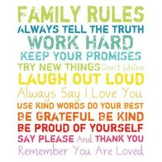 Family Rules Canvas Print in Multi