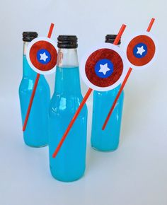 Jac o' lyn Murphy: Heroes Eat M&M's - Captain America Party- Soda Bottles & Shield Straws