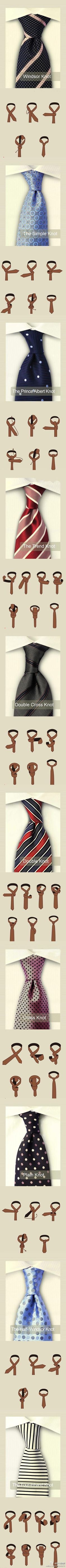 I'd be happy if I knew how to tie even one of these lol the knot, oneday, remember this, tying ties, tie a tie, son, neck ties, tying a tie, tie knots