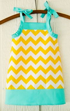 Aqua and Yellow Chevron A-line Sun Dress, Adjustable Spring Summer dress, Designer Fabric, Girls  2T 3T 4T 5 6 7 8, Your choice of color on Etsy, $28.00