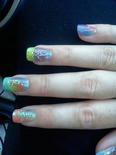 nail inspir, nail biter, french manicures, fabul nail, pastel french, glitter pastel, easter nail