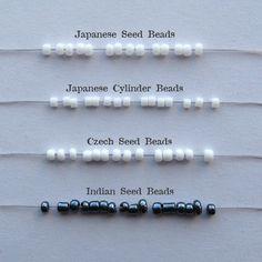 Seed bead comparison chart. Crimson Moon.
