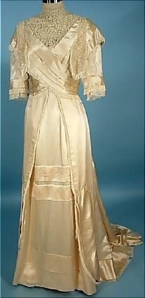 Circa 1910 FOLLER Ecru Silk Satin Trained Wedding Gown with Silk Fringe.