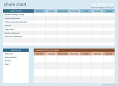 Use this template to customize and print a chore chart for your kids