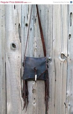 ON SALE Brown leather purse Fringed crossbody phone by thunderrose, $49.30