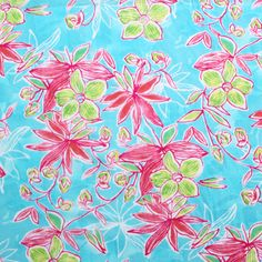 Floral on Turquoise Watercolor Cotton Jersey Knit Fabric
