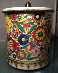 Aluminum Floral Enamel Cookie Biscuit Tin Made in Holland Top Knob Vintage | eBay
