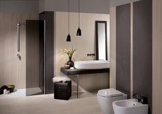 Serie piastrelle per bagno Dress Up. Colori: graphite, ivory e tan. Decoro: stripes #piastrellebagno