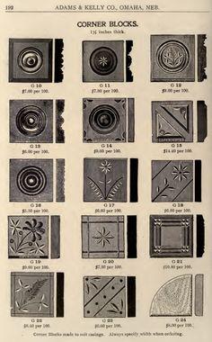 Millwork corner blocks from a 1908 Adams & Kelly millwork catalog.